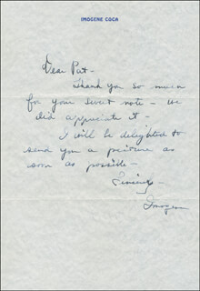 IMOGENE COCA - AUTOGRAPH LETTER SIGNED