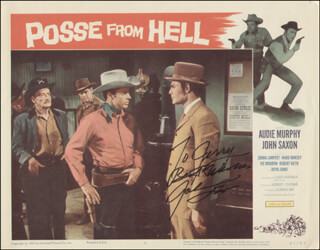 JOHN SAXON - INSCRIBED LOBBY CARD SIGNED