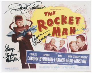 THE ROCKET MAN MOVIE CAST (1954) - AUTOGRAPHED SIGNED PHOTOGRAPH CO-SIGNED BY: JOHN AGAR, ANNE FRANCIS, BEVERLY GARLAND, GEORGE FOGHORN WINSLOW