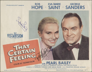THAT CERTAIN FEELING MOVIE CAST - LOBBY CARD SIGNED CO-SIGNED BY: BOB HOPE, EVA MARIE SAINT