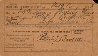 ROBERT J. BURDETTE - RECEIPT SIGNED 08/16/1898
