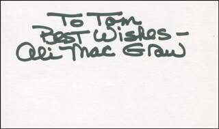ALI MacGRAW - AUTOGRAPH NOTE SIGNED