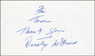 DOROTHY McGUIRE - AUTOGRAPH NOTE SIGNED