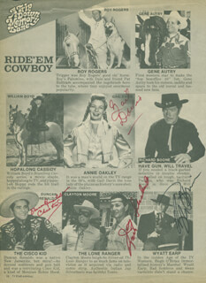 JAY TONTO SILVERHEELS - MAGAZINE PAGE SIGNED CO-SIGNED BY: GAIL DAVIS, HUGH O'BRIAN, RAY WALSTON, DUNCAN THE CISCO KID RENALDO, SID MELTON, PAMELA BRITTON