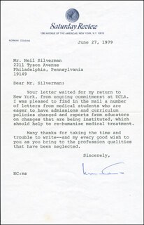 NORMAN COUSINS - TYPED LETTER SIGNED 06/27/1979