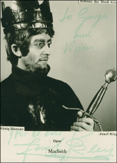 JOSEF KLEY - AUTOGRAPHED INSCRIBED PHOTOGRAPH