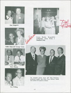 EDDIE DEAN - BOOK PAGE SIGNED CO-SIGNED BY: CAROLINA COTTON, BEN JOHNSON, TERRY FROST, FRANK MITCHELL