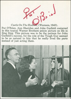 PAT O'BRIEN - BOOK PAGE SIGNED