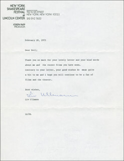 LIV ULLMANN - TYPED LETTER SIGNED 02/20/1975