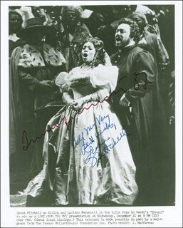 ERNANI OPERA CAST (1982) - AUTOGRAPHED SIGNED PHOTOGRAPH 1982 CO-SIGNED BY: LEONA MITCHELL, LUCIANO PAVAROTTI