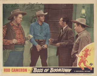 ROD CAMERON - INSCRIBED LOBBY CARD SIGNED
