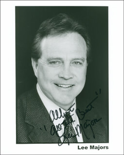 LEE MAJORS - INSCRIBED PRINTED PHOTOGRAPH SIGNED IN INK