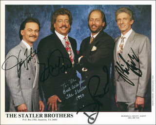 THE STATLER BROTHERS - AUTOGRAPHED INSCRIBED PHOTOGRAPH CO-SIGNED BY: THE STATLER BROTHERS (HAROLD REID), THE STATLER BROTHERS (PHIL BALSEY), THE STATLER BROTHERS (JIMMY FORTUNE), THE STATLER BROTHERS (DON REID)