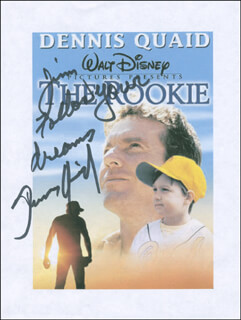 DENNIS QUAID - INSCRIBED PRINTED PHOTOGRAPH SIGNED IN INK