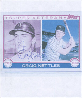 GRAIG NETTLES - PRINTED PHOTOGRAPH SIGNED IN INK