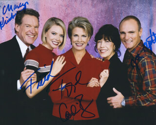 MURPHY BROWN TV CAST - AUTOGRAPHED SIGNED PHOTOGRAPH CO-SIGNED BY: FAITH FORD, CHARLES KIMBROUGH, JOE REGALBUTO, CANDICE BERGEN