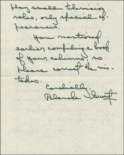 BLANCHE SWEET - AUTOGRAPH LETTER SIGNED