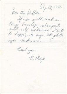 VIRGINIA MAYO - AUTOGRAPH LETTER SIGNED 08/30/1982