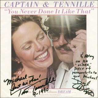 CAPTAIN & TENNILLE - INSCRIBED RECORD ALBUM SLEEVE SIGNED 09/1990 CO-SIGNED BY: CAPTAIN & TENNILLE (DARYL DRAGON), CAPTAIN & TENNILLE (TONI TENNILLE)
