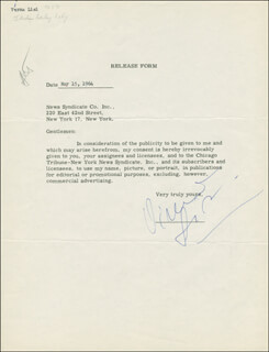 VIRNA LISI - DOCUMENT SIGNED 05/15/1964
