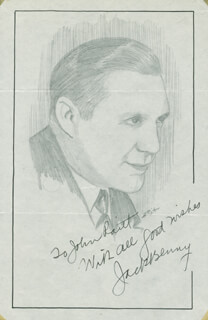 JOHN RAITT - INSCRIBED ORIGINAL ART SIGNED CO-SIGNED BY: JACK BENNY