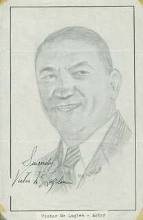 Autographs: VICTOR McLAGLEN - ORIGINAL ART SIGNED CO-SIGNED BY: JOHN RAITT