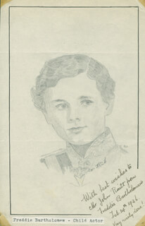 Autographs: FREDDIE BARTHOLOMEW - INSCRIBED ORIGINAL ART SIGNED 02/14/1936 CO-SIGNED BY: JOHN RAITT