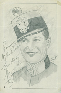 JOHN RAITT - INSCRIBED ORIGINAL ART SIGNED CO-SIGNED BY: MAURICE CHEVALIER