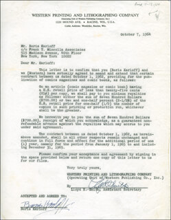 BORIS KARLOFF - CONTRACT SIGNED 10/07/1964