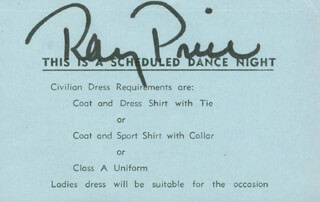 RAY PRICE - TICKET SIGNED CIRCA 1964