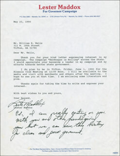 GOVERNOR LESTER G. MADDOX - TYPED LETTER SIGNED 05/23/1990