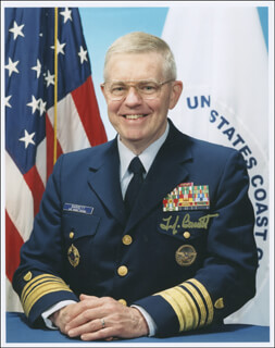 Autographs: VICE ADMIRAL THOMAS J. BARRETT - PHOTOGRAPH SIGNED