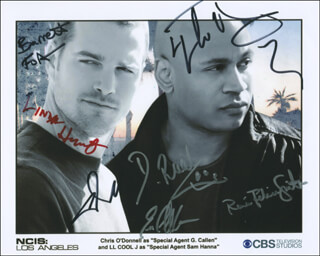 Autographs: NCIS: LOS ANGELES TV CAST - PHOTOGRAPH SIGNED CO-SIGNED BY: CHRIS O'DONNELL, LINDA HUNT, LL COOL J , BARRETT FOA, DANIELA RUAH, ERIC CHRISTIAN OLSEN, RENEE FELICE SMITH