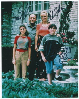 THE SOPRANOS TV CAST - AUTOGRAPHED SIGNED PHOTOGRAPH CO-SIGNED BY: JAMES GANDOLFINI, JAMIE-LYNN SIGLER, EDIE FALCO, ROBERT ILER