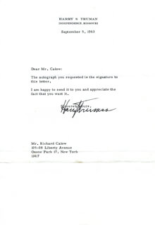 PRESIDENT HARRY S TRUMAN - TYPED LETTER SIGNED 09/05/1963