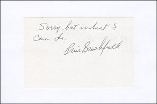 PRICE BROOKFIELD - AUTOGRAPH SENTIMENT SIGNED