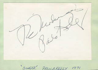 PAULA KELLY - AUTOGRAPH SENTIMENT SIGNED CIRCA 1971