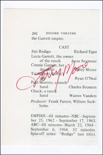 TERRY MOORE - PROGRAM PAGE SIGNED