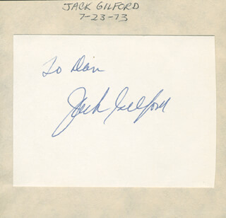 JACK GILFORD - INSCRIBED SIGNATURE CIRCA 1973