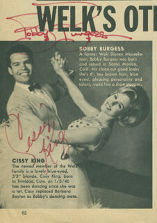 BOBBY BURGESS - NEWSPAPER PHOTOGRAPH SIGNED CO-SIGNED BY: CISSY KING
