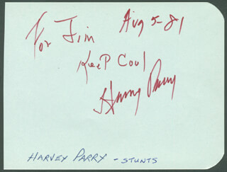 HARVEY PARRY - AUTOGRAPH NOTE SIGNED 08/05/1981