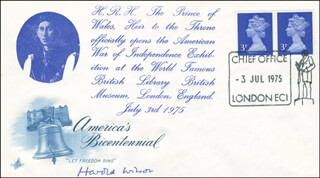 PRIME MINISTER HAROLD WILSON (GREAT BRITAIN) - COMMEMORATIVE ENVELOPE SIGNED