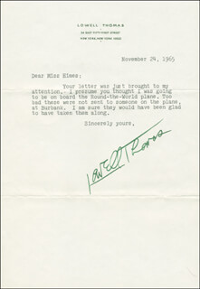 LOWELL THOMAS - TYPED LETTER SIGNED 11/24/1965