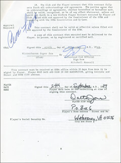CURT FLOOD - CONTRACT SIGNED 09/06/1989 CO-SIGNED BY: DALTON JONES