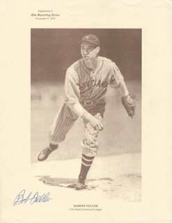 BOB FELLER - PRINTED PHOTOGRAPH SIGNED IN INK