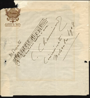 CECILE CHAMINADE - AUTOGRAPH MUSICAL QUOTATION SIGNED 11/1908