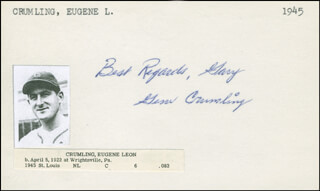 GENE CRUMLING - AUTOGRAPH NOTE SIGNED