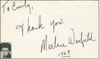 MARLENE WARFIELD - AUTOGRAPH NOTE SIGNED 1968
