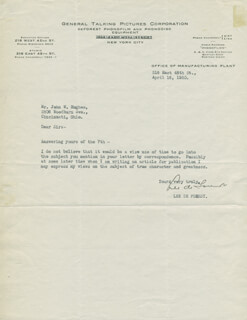 LEE DE FOREST - TYPED LETTER SIGNED 04/16/1930