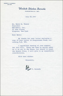 Autographs: ROBERT F. KENNEDY - TYPED LETTER SIGNED 07/11/1967